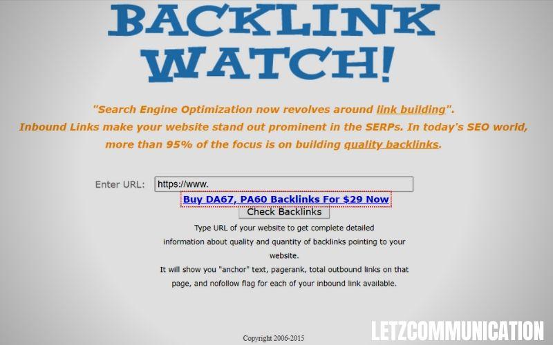 Backlinkwatch logiciel pour trouver des liens entrants - letz communication - Agence web - Luxembourg