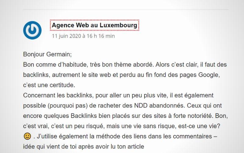 Ecrire des commentaires  pour intégrer des liens entrants - letz communication - Agence web - Luxembourg